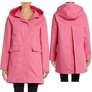 Kate Spade pink raincoat with bow behind hood